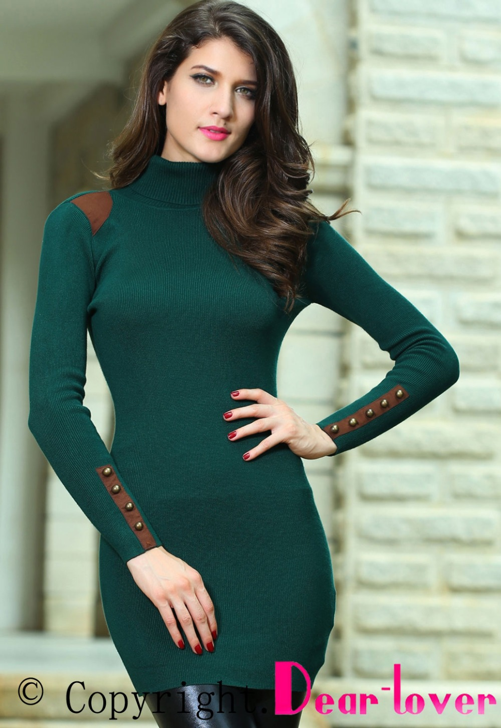 Dress autumn winterr 2013 new fashion women long sleeve LC27509 pocket