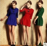 2013 new 3 colors  women dresses  fashion O-neck Slim waist stretch cotton shirt mini dress sexy club special occasion dresses
