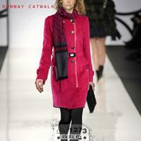 70%Wool Brand Winter 2014 Women Long Coat Hight Quality Runway Round Collar Rose Red Khaki Blue Women's Outerwear With Belt