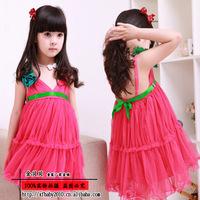 Foreign children 13 Taobao hot summer camisole dress Rose Children Girls Older children dress