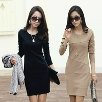 2013 autumn long sleeve anti-wrinkle ol basic elegant plus size slim one-piece solid women dress S/M/L/XL/2XL