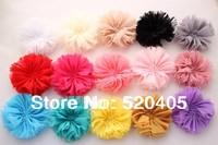 Chiffon fllowers for headband Vintage Chiffon Shabby Look Flowers solid DIY flower headwear Hair Accessories 50PCS
