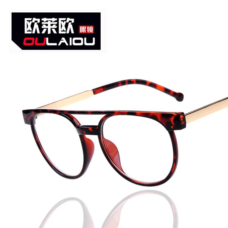 Vintage 2013 flat lens women UV400 ultraviolet-proof glass frame men glasses(China (Mainland))