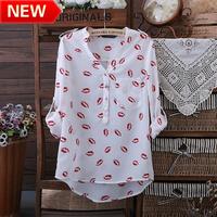 new 2013 flower printed brand blouses innovative items tops women clothing blouses  cute  lip print  shirts bk630