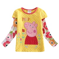 FREE SHIPPING F4340#Yellow 5pcs/ lot18m-6y  tunic top peppa pig embroidery for girl long sleeve T-shirt
