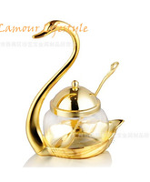 stainless steel swan sugar dish salt and pepper bottle sugar bowl salt & pepper golden set
