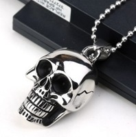 Men's Jewellery Titanium Steel Necklace  Wholesale Free shipping 316L Stainless Steel Vintage Style Skull Heads  Pendant