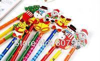 Wholesale!!!Office & School Supplies 12pcs/lot Cartoon Wooden Chirsmas pen s14 /Student award,Christmas gift