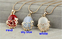 Exquisite fashion hollow pattern opal pendant necklace women's necklace pendants ( minimum order $ 8 )