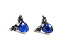 Gothic Jewelry Women's Vintage Designer Angel Wings Blue Red Heart Gold Plated Stud Earrings Christmas Gifts Charm High Quality