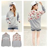 2014 New Fashion Autumn Women's Cotton Loose Patchwork Hoodies Letter Sweatshirt Lace Stitching 3D Flowers W6690