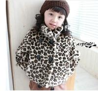 (100-140cm)5pcs/lot winter casual 2013 girls outwear long sleeve children clothing for girls/leopard pattern velour / warm coat