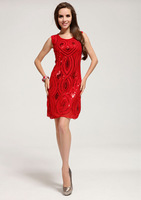 Free Shipping, wholesale festive red sequins dress party evening elegant, Christmas and happy new year  evening dresses LM6022ES