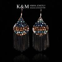 (Min order is $10) New Fashion Handmade Crystal Multi chains drop ear-hook earrings for women