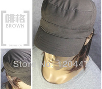 Autumn -summer 2014 fashion brand big head flat for neutral loose male dard color small lattice hat for Christmas free