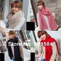 New winter Women's twist Scarf/warm ladies' knitted wool Shawl thread Scarves/big size 220cm/6colors good quality Free Shipping