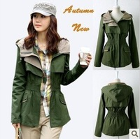 Free shipping!2013 autumn slim 100% cotton Women's Windcoat  short  jacket