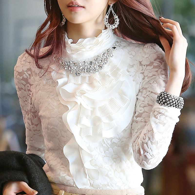 Womens White Frilly Blouse 42