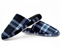 Male Winter Home Slippers Plaid Cotton-Padded Floor Slip-Resistant Wool indoor slippers