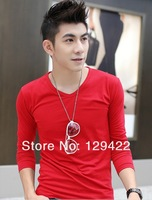 2013 new Korean version of Men autumn slim Round collar Faux 2pcs long Sleeve t Shirt / Hot sale high quality free shipping