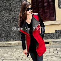 Sale 2014 Outerwear Coats Women Autumn Winter Coat Patchwork Woolen Overcoat Slim Long Design Long PU Leather Sleeve Outerwear