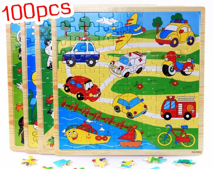 Baby Toys Child Educational 100Pcs Puzzle Wooden Toys Child Intelligence Puzzle Kids Toy Animal/Vehicle/Fish Large Puzzle Gift(China (Mainland))