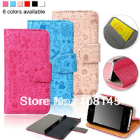 for iphone 4 4s leather case flip wallet design with card holders stand support sweet lovely patterns for girl 1pc free shipping