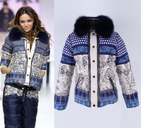 Hot!! Winter Fashion Women High Quality Fur Collar Porcelain Print Fashion Down Jacket Designer  Warm Down Parkas SS12553