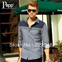 2013 spring& autumn Fashion men Denim Lapel Long-Sleeved Shirt,Hot sale!!