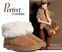 Free shipping wholesale 2013 new Women Winter fur boots rubber cowhide snow boots big feather boots large size upgrade 5color
