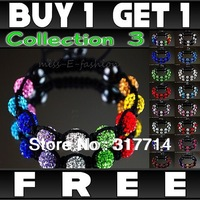 Hot Sale ! New Arrival 10mm Crystal AB Clay Disco Ball Shamballa Bracelets & Bangles Mix Colours Options