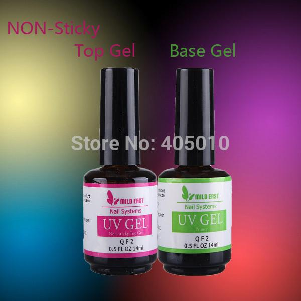 Soak Off UV Gel Nail Polish non sticky top gel top coat Base gel base coat primer nail gel for LED UV lamp(China (Mainland))