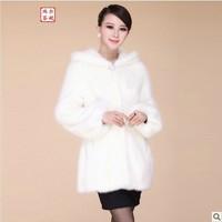 Brand New 2014 autumn winter coat women faux fur coat medium-long plus size girl overcoat with a hood slim outerwear clothing