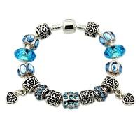 European Silver Bracelet,High Quality Crystal Beads Charm Bracelets For Women,3 Colors ,19CM,20CM,21cm,PA07,Wholesale