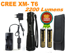 UltraFire 12W 1800 Lm CREE XM-L T6 Focus Adjust Zoom Led Flashlight Torch(2*18650 +AC/Car Charger) Free Shipping(China (Mainland))