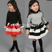 Hot sale!New style girls stripe Long sleeve dress, Fashion girl clothing,(5pcs /lot)