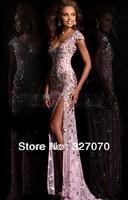 Free shipping 2014 Sexy V-Neck A-Line Split Sheath Long Modest Short Sleeves Prom Dresses