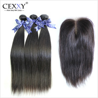 Malaysian Virgin Hair Straight Hair With Closure 4Pcs Lot For A Full Head,Shipping Free By DHL or UPS