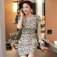 Korean women dress OL temperament bud short sleeve dress Slim package hip Dress 11668