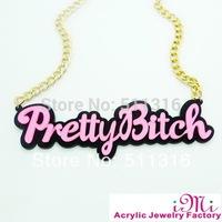 Pretty Bitch Black Girel's Hip-hop Punk pink cute acrylic Letters Pendant Necklace