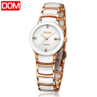 New 2013 women's fashion trend rhinestone calendar ceramics 200m waterproof ladies dress nurse Dom brand quartz watch