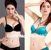 2 Pcs/ Lot Wholesale Hot Woman's Sexy Underwear Bra Unique Lace Design With Steel Ring, Colors:Black/ Blue Free Shipping (J-47#)