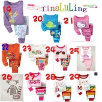 Free Shipping(6set/lot) 2014 New 100% Cotton Children's Sleepwear boys and girls Carton pajamas suits baby Pyjamas clothing set