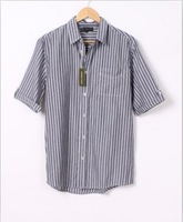 2013 free shipping New Arrival Men's Stripe Pocket Short Sleeve Shirt  As The Picture GX13080204-1 S M L XL