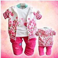 Free shipping Lowest price baby girl 3 pcs suit flower girls clothes set coat+t-shirt+pants cotton Infant garment 3pcs/lots