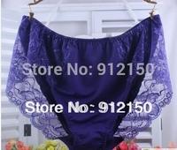 2014 New Women Plus Size High Waist Panties Soft Silk Lace Sexy Underwear 3XL 4XL 5XL Casual Briefs Hot Sale