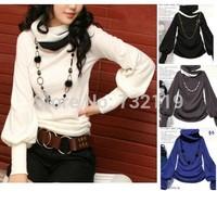 Hot 2014 new women-color collar lantern sleeve high neck long-sleeved t-shirt WL1056