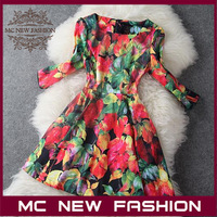 Europe Big Brand Genuine 2013 New Women's Quarter Sleeves Retro Elegant Maple Leaf Printed Fashion Dress Slim #4538