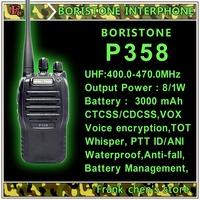 Handheld Walkie Talkie BORISTONE 8W Two-Way Radio UHF Band FM Transceiver  BORISTONE-P358 Free Shipping