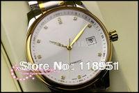 2014 New luxury diamond scale calendar display large dial sapphire crystal Swiss movement steel men's watch business